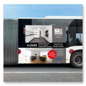 Publicité sur Bus TPF - Sallin Immobilier, 1630 Bulle
